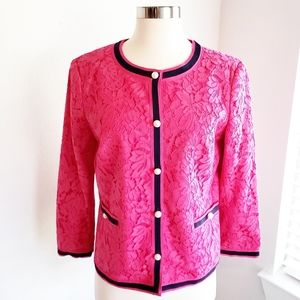 Talbots Lace Jacket Hot Pink Pearl Button Lined 4